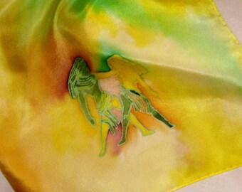 Silk Scarf,GeminiThe Twins,Green,Yellow,Handmade,Zodiac,14x72inches