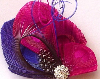 FUCHSIA, BLUE, and SLATE Peacock Hair Fascinator Clip Perfect for a Bride or Bridesmaids