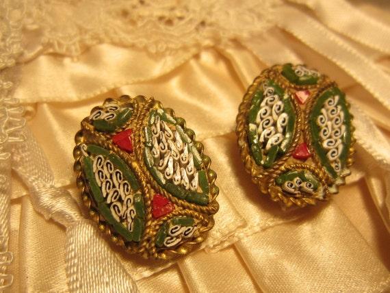 Hallmarked V VILLA Italy Micro Mosaic Vintage Clip Earrings