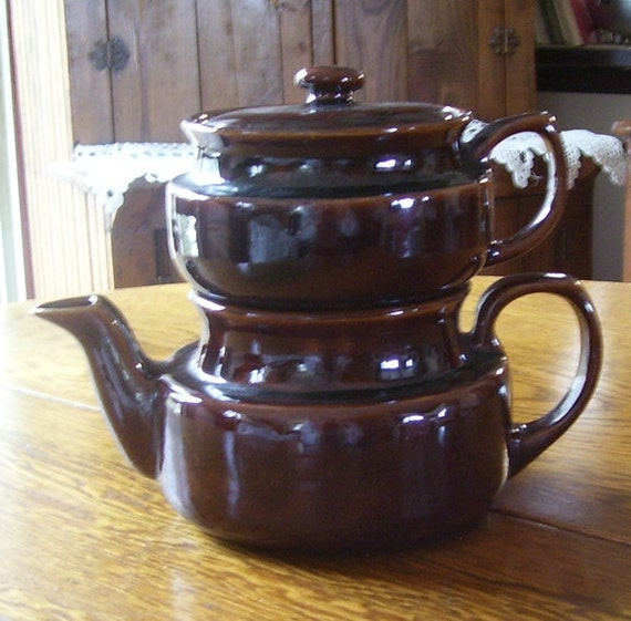 Brown Pottery Double Drip O Lator Coffee Pot Or Teapot