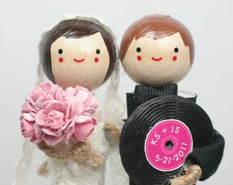 Custom Wedding Cake Topper with 1x CUSTOM CLOTHING and 1x PROP
