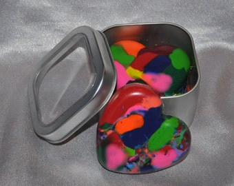 Recycled Crayons Heart Shaped In Keepsake Tin, Total of 5 Crayons.  Boy or Girl Kids Unique Party Favors, Crayons.