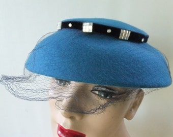 Vintage Hat Blue Melofine Felt Wool by Terry Sales Corp NY with Faux Stones Netting Formal Wedding Prom Designer