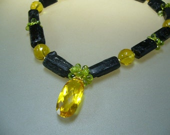 Tourmaline Citrine Peridot 18k Solid Gold Necklace