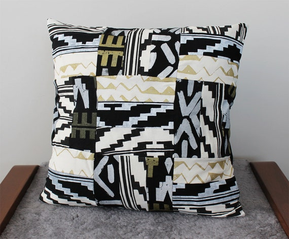 Hand Printed Quilted Pillow in Black, White, and Gold