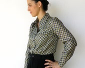 Vintage 1970s Navy and Lime Diagonals Blouse / Size L