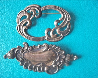 Vintage Silver Brooch Collection of Two