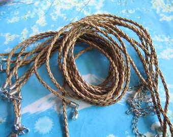 Promotion sale 15pcs 16-18 inch adjustable 3mm baby brown faux leather braided necklace cords