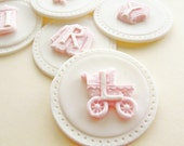 Baby Girl Cupcake Toppers - Edible Fondant Cupcake Topper, Baby Shower Cupcakes, Baby Girl Cake, Baby Themed Cupcake Toppers,