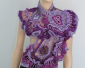 SALE 40% OFF only this month Crochet Shawl Wrap Evening Bohemian Unique Ruffle Lace Lilac Violet Purple Freeform Crochet Shawl  Wearable Art