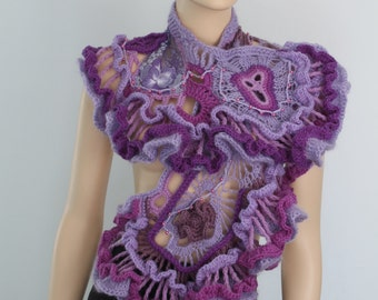 Crochet Shawl Wrap Evening Bohemian Unique Ruffle Lace Lilac Violet Purple Freeform Crochet Shawl  Wearable Art