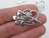 4 Flower toggle clasp sets antique silver tone C20