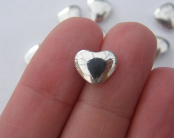 BULK 50 Heart spacer beads antique silver tone H71