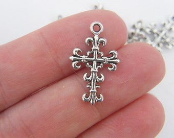 BULK 50 Cross charms antique silver tone C5