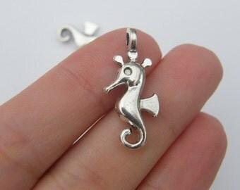 6 Seahorse charms tibetan silver FF251