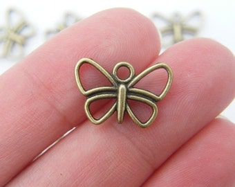 14 Butterfly charms antique bronze tone BC138