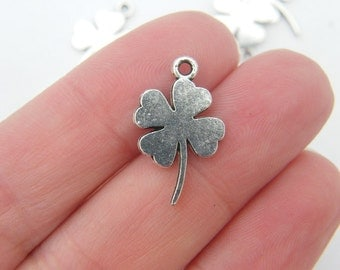 BULK 50 Four leaf clover charms antique silver tone L45