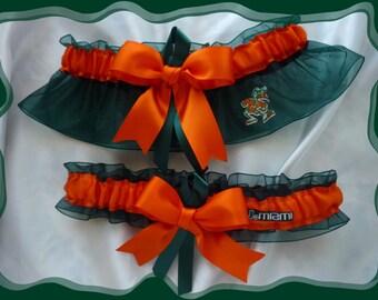 Green Organza Ribbon Wedding Garter Set Made with Miami Hurricanes Fabric