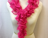 Long Ruffled Scarf - Crocheted - Lacy Scarf - Hot Pink With Silver Edging