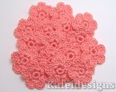 "Coral Pink 7/8"" Crochet 6-Petal Flower Embellishments Handmade Applique Scrapbooking Fashion Accessories - 16 pcs. (4260-01)"