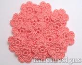 "Coral Pink 7/8"" Crochet 6-Petal Flower Embellishments Handmade Applique Scrapbooking Fashion Accessories - 16 pcs. (4260-01)"
