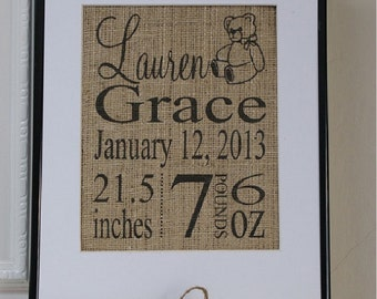 Free US Shipping...Personalized Burlap Birth and Baby Announcement Print