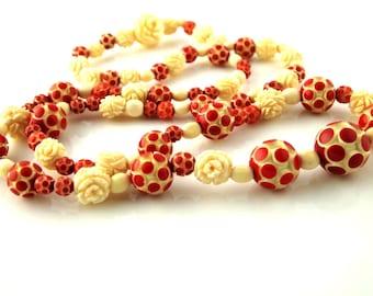 Polka Dot Necklace - Bone/Celluloid - 1930's - Vintage
