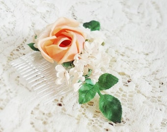 "Peach rose with white velvet and organdy flowers hair comb ""Newlywed"""