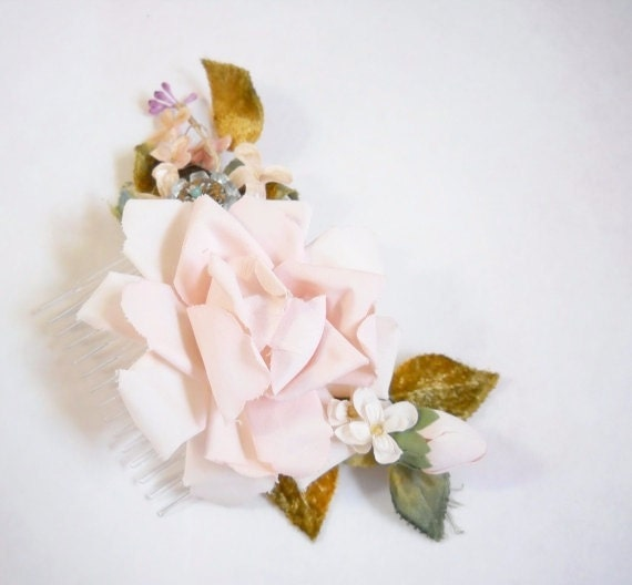 """Pink vintage millinery hair comb- """"All a Dream"""""""
