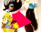 Easter Card for Grandaughter by Gibson - Unused Velveteen Vintage - Skunk and Bluebird