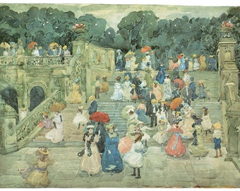 Wooden jigsaw puzzle. CENTRAL PARK. Maurice Prendergast. Impressionist Impressionism Wood, handcut, handcrafted, collectible. Bella Puzzles.