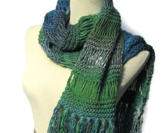 Green Scarf Hand Knit Scarf Green Fashion Accessories  Knit Scarf, Gift Idea for Her, Knitted Scarf, Winter Scarf,  Womens Scarf, Fiber Art,
