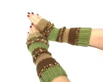 Hand Knit Fingerless Gloves Arm Warmers Beige Tan Brown Green Multicolor