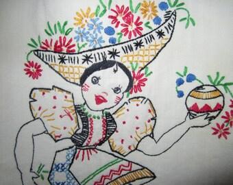 Mexican WOMAN Embroidered on half APRON Senorita
