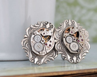 STEAMPUNK CUFFLINKS vintage Bulova 17 jeweled watch movement cuff links