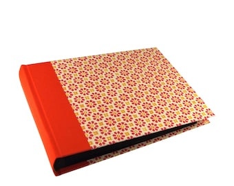 orange Baby Photo Album with a vintage touch and black pages, Baby Album