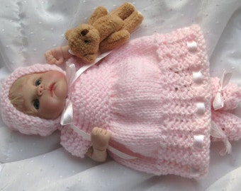 Doll Knitting Pattern   PRINCESS in PINK Dress, Bonnet & Booties  7 to 8in doll Clay Baby OOAK Doll