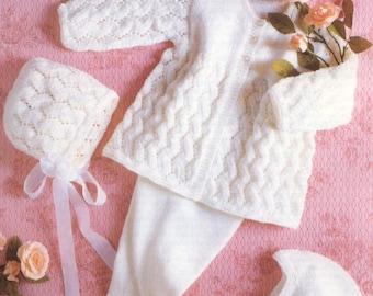 Baby Knitting PATTERN Baby Set Coat/Jacket, Leggings, Bonnet, Helmet