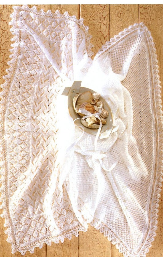 Baby KNITTING Pattern 2 Baby Shawls 2 ply Heirloom quality