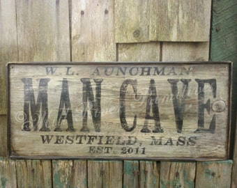 Personalized Primitive Wooden MAN CAVE Sign