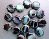 Black and Turquoise Table Cut Octagon Beads - Turquoise - Black Picasso - Premium Czech Glass Beads - Bead Soup Beads