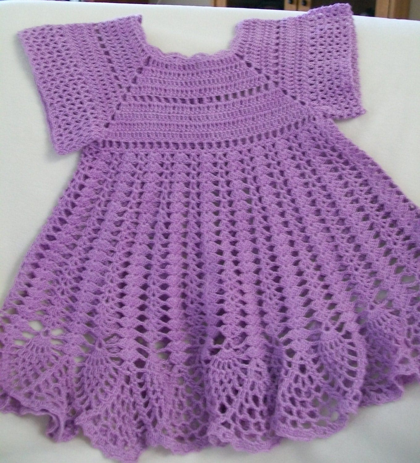 Crochet Baby Dress Baby Girl Dress Lavender Handmade