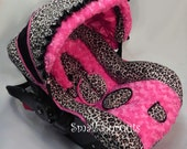 Custom Boutique Cheetah Minky Hot Pink Rosette Minky Infant car seat cover 5 piece set