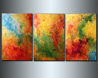 Huge Painting , Original Abstract painting Colorful Contemporary modern Multipanel Fine Art by Henry Parsinia Large 72x36
