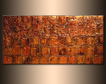 Original Textured Abstract Painting, Textured Gold ,Copper Metallic, Palette Knife Art by Henry Parsinia 48x24