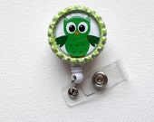 Green & White Owl - ID Badge Holder - ID Badge Reel - Cute Badge Reel - Nursing Badge - Nurses Badge Holder