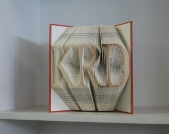 Folded Book Art Sculpture - personalized with 3 upper-case initials, monogram wedding bridal shower first anniversary birthday