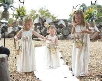 Rustic flower girl dress, country flower girl dress, beach flower girl dress, cotton flower girl dress
