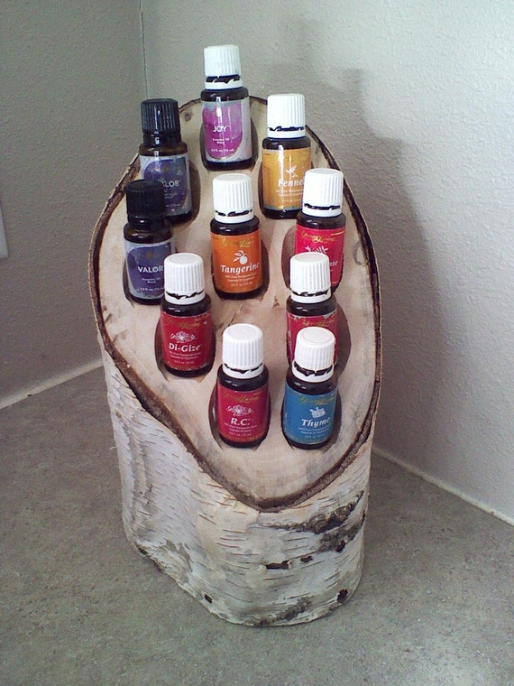 Birch Wood Essential Oils Holder    Caddy Unique Display For