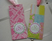 New Pattern LILLY FANS  Personalized Bookmark with Placard monogram